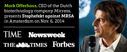 Mark Offerhaus, CEO of the Dutch biotechnology company Micreos, presents Staphefekt against MRSA in Amsterdam on Nov.6, 2014